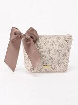 リボン刺繍スクエアポーチ