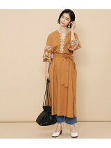 【ne Quittez pas】 POPLIN EMB LONG SLEEVE DRESS