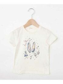 【SALE/49%OFF】3can4on 【90-140cm】バレエシューズガーリーTシャツ サンカンシオン カットソー Tシャツ ホワイト ピンク