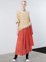 TULLE TOP ASYMMETRY PLEATS SKIRT