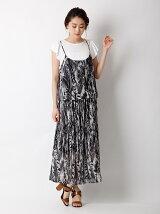 【WEB限定大きいサイズ】リーフプリントキャミソール×スカート《2点セット》