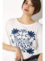 オリエンタル刺繍フレアスリーブTEE