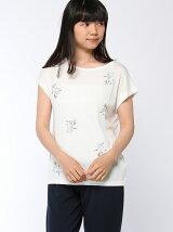 前後2WAY花刺繍Tシャツ