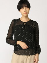 (W)LS BR TXT SHIRRED TIE FRONT BLOUSE