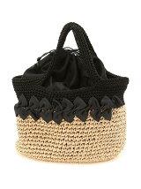 (L)カシュカシュ/リボン付きコンビ手編みトートバッグ