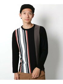 【SALE/20%OFF】THE SHOP TK コットンランダムストライププルオーバー ザ ショップ ティーケー カットソー Tシャツ ホワイト ブラック イエロー