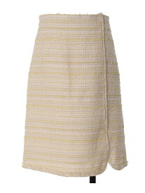 【SALE/60%OFF】ef-de L size 《大きいサイズ》ラメツイードスカート《Maglieparef-de》 エフデ エルサイズ スカート 台形スカート/コクーンスカート イエロー【送料無料】