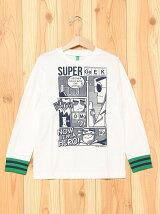 (K)KIDSボーダー柄カフスプリント長袖Tシャツ・カットソー