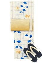 格子小花柄浴衣3点Set