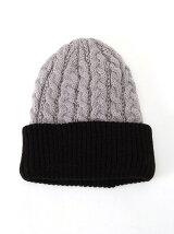バイカラーニット帽