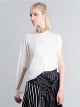 ASYMMETRY DRAPE JERSTY T-SHIRT