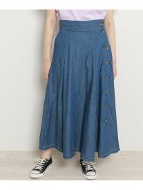 【SALE/70%OFF】frames RAY CASSIN デニム・ツイル切替ロングスカート レイカズン スカート ロングスカート ブルー ホワイト