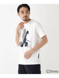 【SALE/30%OFF】BASECONTROL DISNEY ディズニー「ミッキーマウス」/チェック 刺繍 半袖 Tシャツ ベース ステーション カットソー Tシャツ ホワイト ブラック