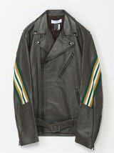 (M)RIB LEATHER JACKET
