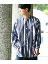 【ストライプ】バンドカラービッグシャツ