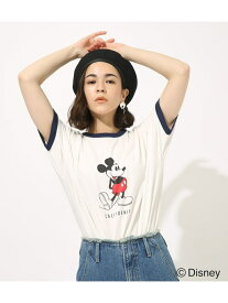 【SALE/50%OFF】AZUL by moussy リンガーミッキーTシャツ アズールバイマウジー カットソー カットソーその他 ホワイト イエロー グレー