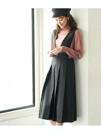 【SALE/10%OFF】ROPE' PICNIC プレスタックジャンパースカート ロペピクニック スカート ジャンパースカート ブラック ベージュ【送料無料】