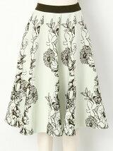 フラワージャガードニットスカート