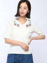 C・リブ胸刺繍5分袖/TOPS