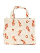 (L)カシュカシュ/綿麻刺繍スクエアミニトートバッグ