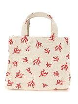 (L)cachecache/綿麻刺繍スクエアミニトートバッグ