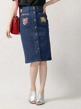 【Dukkah】(L)レトロ刺繍デニムミドルタイトスカート