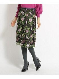 SunaUna 【洗える】花柄刺繍チュールスカート スーナウーナ スカート スカートその他 ブラウン ベージュ【送料無料】