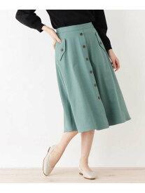 【SALE/20%OFF】grove フェイクボタンフレアスカート グローブ スカート スカートその他 グリーン ベージュ ネイビー