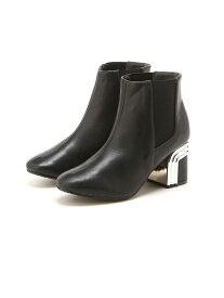 【SALE/40%OFF】ElvisLuce/BLACKデザインヒールのショートブーツ マフモフ シューズ【RBA_S】【RBA_E】