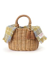 (L)カカトゥ kakatoo/ハリスツイードフラップ付き柳かごバッグ