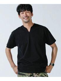 【SALE/30%OFF】nano・universe <WEB限定>VスリットリブネックTシャツ ナノユニバース カットソー Tシャツ ブラック グレー ホワイト