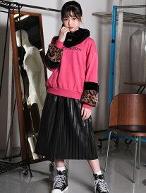 【SALE/75%OFF】ZIDDY 【ニコ☆プチ掲載】プリーツ 合皮 ロングスカート(130cm~160cm) ベベ オンライン ストア スカート ロングスカート ブラック