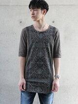 5分袖UネックプリントTシャツ