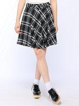 TRチェック柄ベルト付フレア/スカート