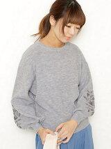 袖刺繍ボリューム袖ニットプルオーバー