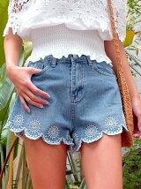 CHILLE裾刺繍デニムショートパンツ