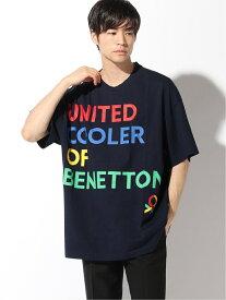 【SALE/79%OFF】BENETTON (UNITED COLORS OF BENETTON) (M)ビッグロゴドローイングTシャツ・カットソーJCC ベネトン(ユナイテッド カラーズ オブ ベネトン) カットソー Tシャツ グレー ネイビー ホワイト