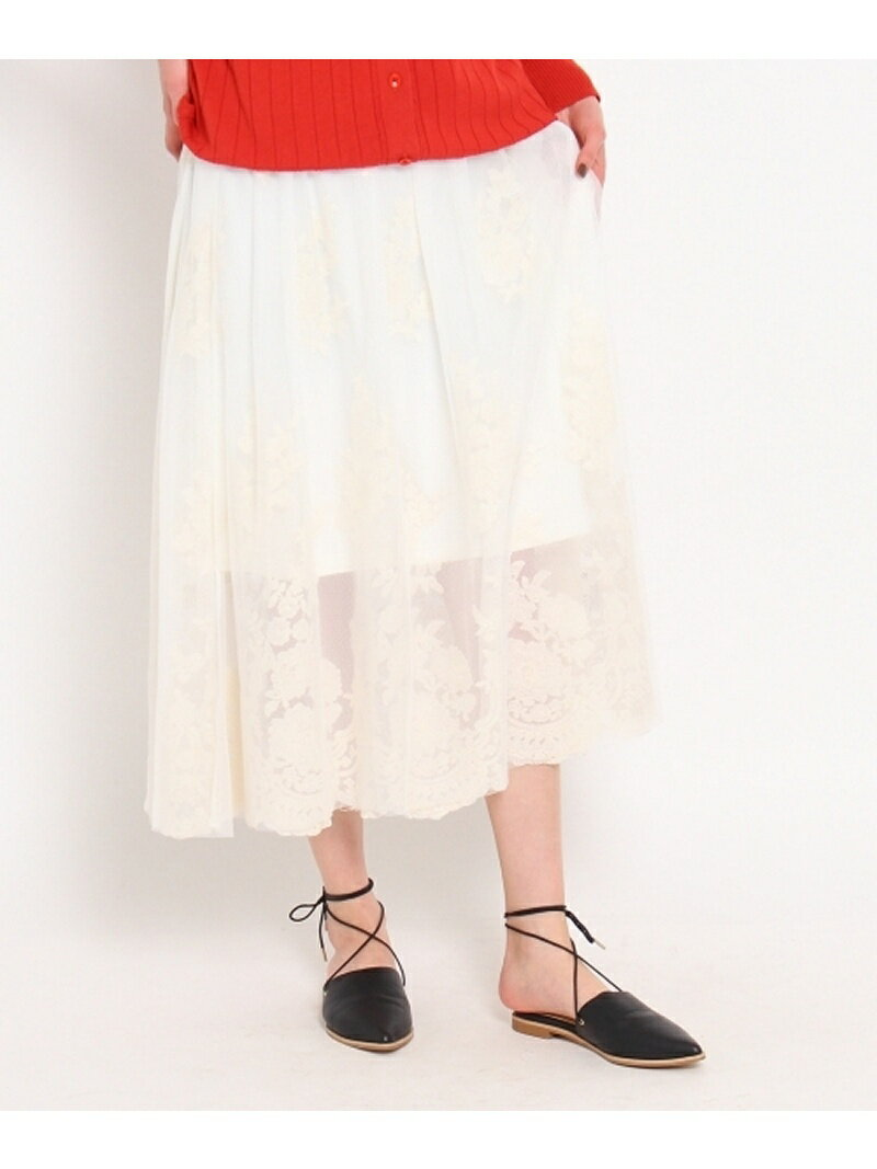 【SALE/70%OFF】OZOC チュールレースミディスカート オゾック スカート【RBA_S】【RBA_E】