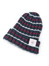 コットンリネンボーダービーニー帽