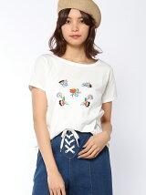 フロント花刺繍Tシャツ