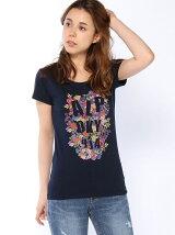 プリント花柄Tシャツ