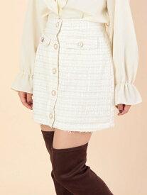 a.g.plus ファンシーツイードスカート エージープラス スカート スカートその他 ホワイト ピンク ブラック【送料無料】