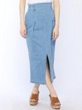 フリンジデニムタイトスカート