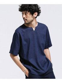 【SALE/20%OFF】nano・universe RELAXシャツキーネックLINENミックス ナノユニバース カットソー Tシャツ ネイビー カーキ ブラック ホワイト【送料無料】