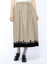 フロッキー風景柄スカート