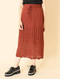 a.g.plus 透かし柄スカート エージープラス スカート スカートその他 ブラウン ベージュ【送料無料】