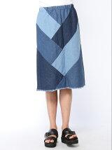 デニムパッチバイヤススカート