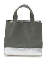 (L)カシュカシュ/仕切りポケット付メタリックトートバッグ