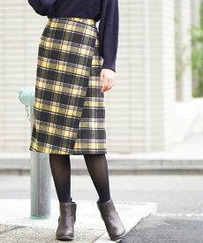【SALE/40%OFF】a.v.v シャギーチェックナロースカート[WEB限定サイズ] アー・ヴェ・ヴェ スカート スカートその他 イエロー グレー