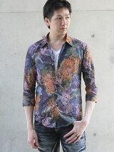 フラワープリントレースボンディング 7分袖シャツ
